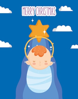Bébé jésus, étoile or, crèche, joyeux noël