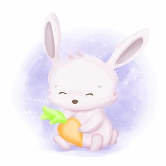 Bébé lapin avec carotte bien-aimée