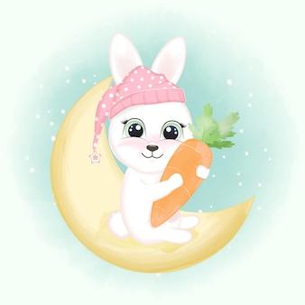 Bébé lapin et carotte sur la lune