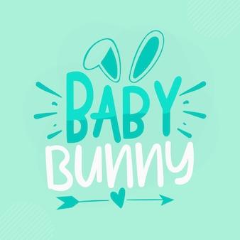 Bébé lapin lettrage bunny premium vector design