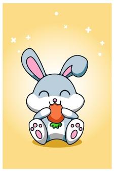 Bébé lapin mange illustration de dessin à la main de carotte