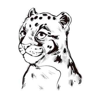 Bébé léopard assombri, portrait de croquis isolé animal exotique. illustration dessinée à la main.