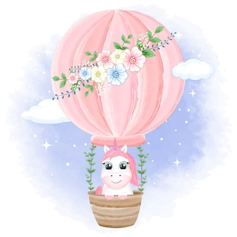 Bébé licorne sur ballon à air chaud