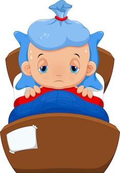 Bébé malade au lit