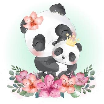 Bébé et mère de panda mignon