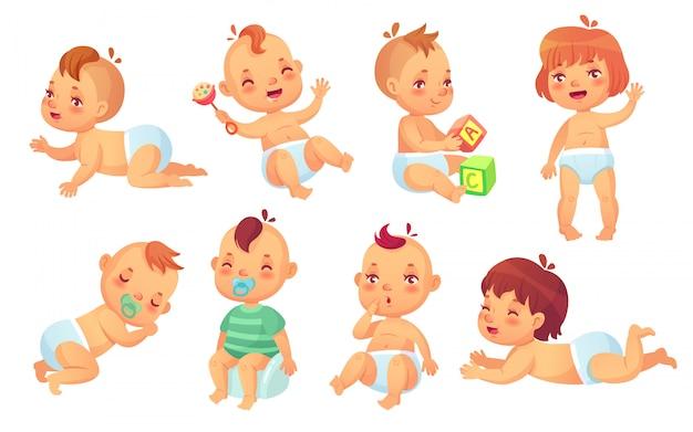 Bébé mignon. bébés heureux de bande dessinée, jeu de caractères isolé de bambin souriant et riant