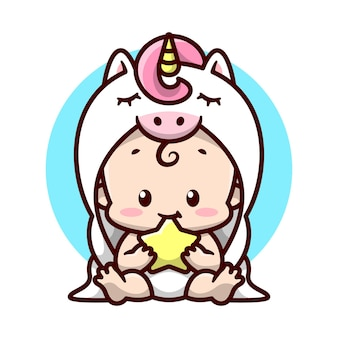 Un bébé mignon dans un costume de licorne blanche est assis et mordant une illustration de bande dessinée star