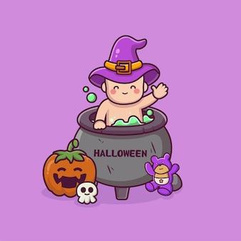 Bébé mignon à l'intérieur du chaudron halloween joyeux halloween dessin animé vecteur plat design