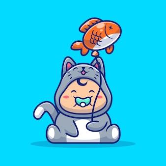 Bébé mignon portant un costume de chat avec un ballon de poisson cartoon icon illustration. concept d'icône animale personnes isolé. style de dessin animé plat