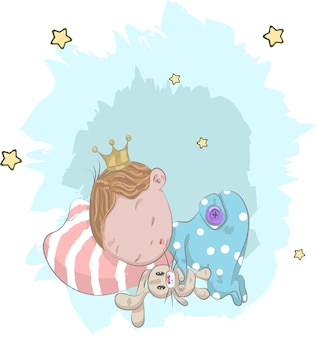 Bébé mignon Prince avec dessin animé de lapin