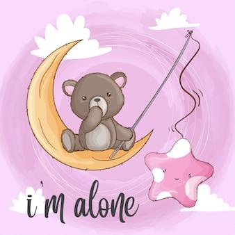 Bébé ours sur l'animal dessiné à la main de la lune