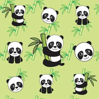 Bébé panda avec motif bambou sans soudure