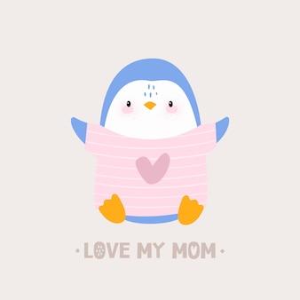 Bébé pingouin avec coeur