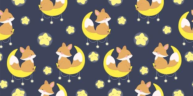 Bébé renard assis sur la lune en motif sans couture pour impression enfant