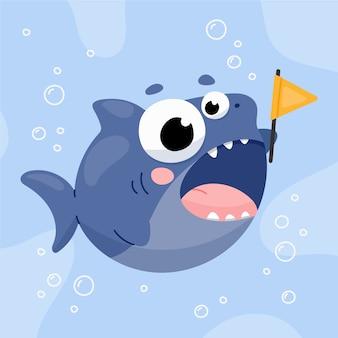 Bébé requin au design plat