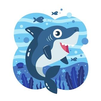 Bébé requin dans le concept de style dessin animé