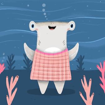 Bébé requin en style cartoon