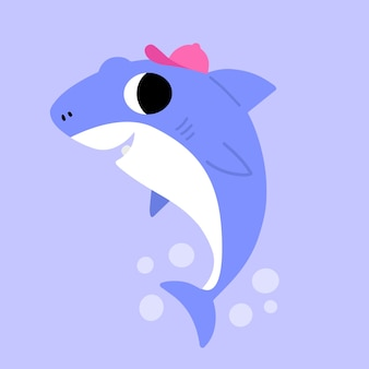 Bébé requin en style cartoon
