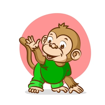 Bébé singe essayant de faire du sport