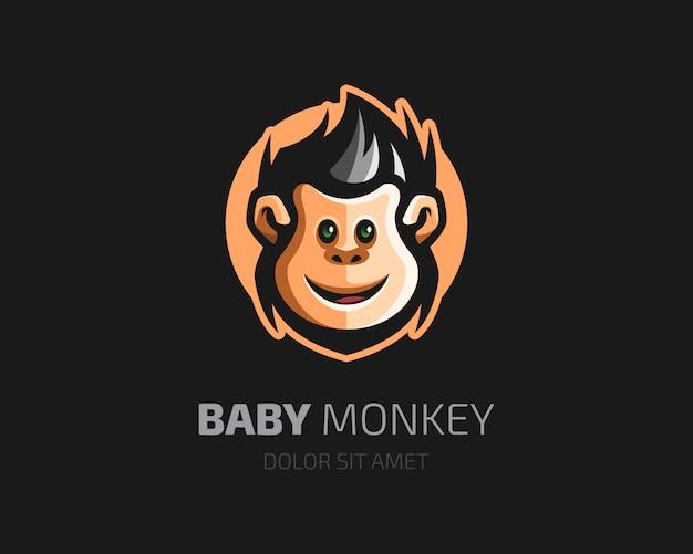 Bébé singe avec logo de style de cheveux