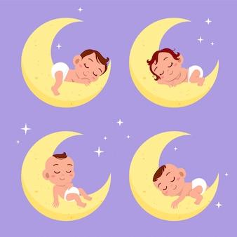 Bébé sommeil de rêve sur le jeu de la lune