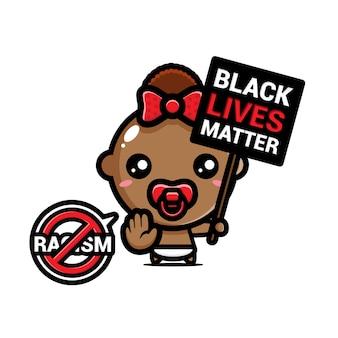 Bébé avec un symbole d'arrêt du racisme