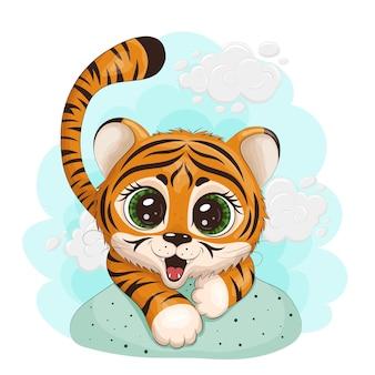 Un bébé tigre de dessin animé, avec de grands yeux, se faufile et sourit. impression, carte postale. illustration vectorielle eps10.