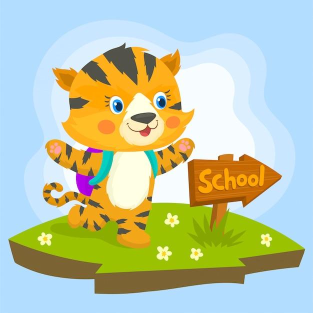 Bébé tigre se dirige vers l'école