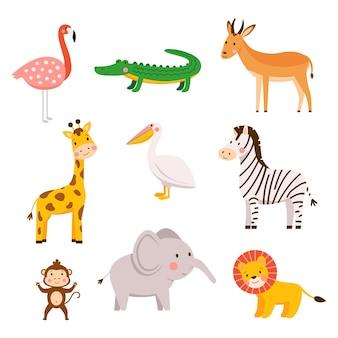 Bébés animaux africains dessinés à la main dans un style cartoon