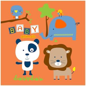 Bébés animaux dans le zoo dessin animé drôle d'animal
