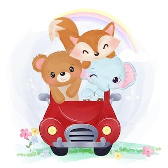 Bébés animaux mignons à cheval ensemble dans une voiture