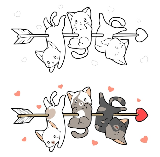 Les bébés chats sont percés d'une flèche de coloriage de dessin animé d'amour