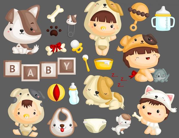 Bébés et chiots