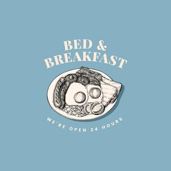 Bed and breakfast logo design vectoriel