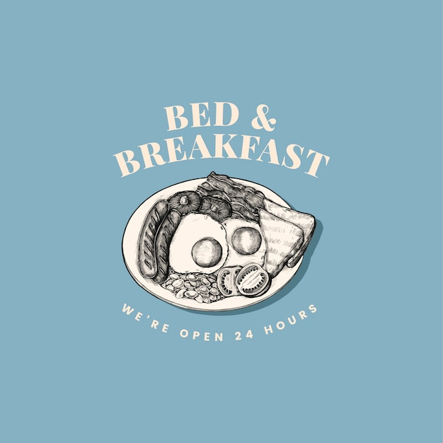 Bed and breakfast logo design vectoriel