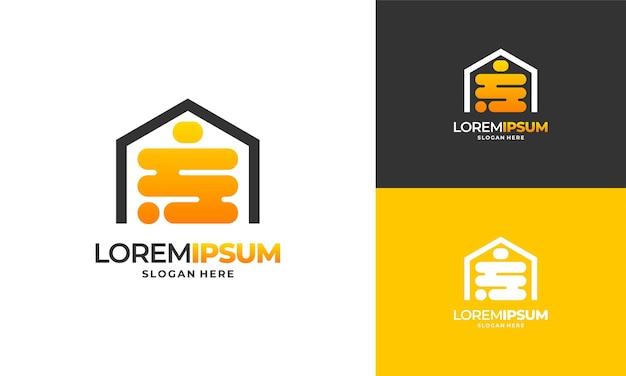 Bee house logo designs vecteur concept, honey house farm logo template vector illustration