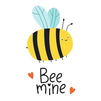Bee mine carte de voeux avec des abeilles et lettrage à la main pour la saint-valentin