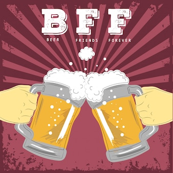 Beer friends forever illustration