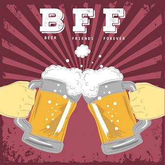 Beer friends forever illustration