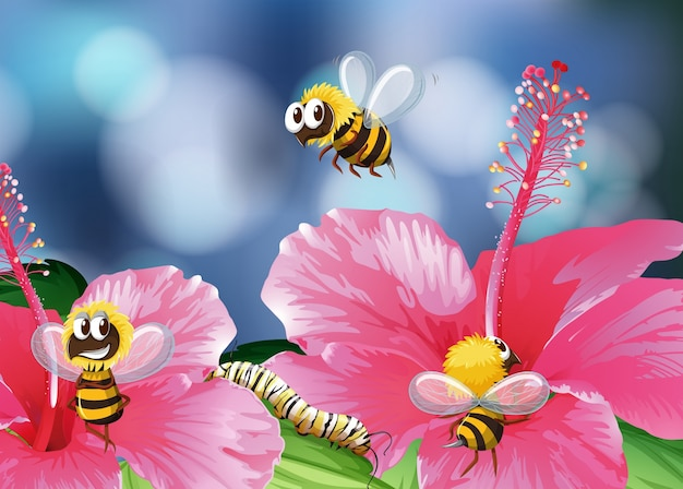 Bees flying in garden illustration
