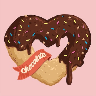 Beignet en forme de coeur au chocolat