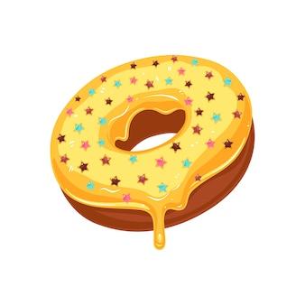Beignet glacé jaune sucre avec paillettes étoiles