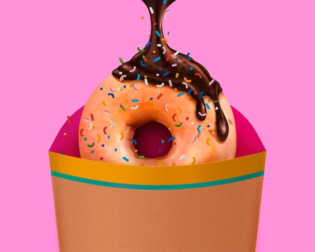 Beignet saupoudré de chocolat avec sauce dégoulinante et emballage à emporter, illustration 3d