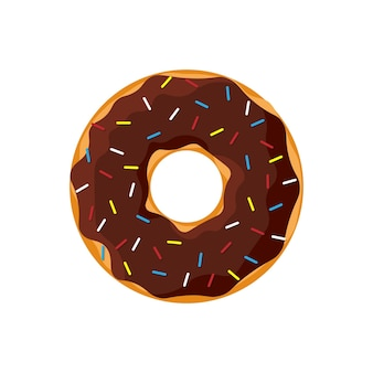 Beignet savoureux coloré de dessin animé isolé sur fond blanc. vue de dessus de beignet glacé au chocolat pour la décoration de café de gâteau ou la conception de menus. illustration vectorielle plat isolé