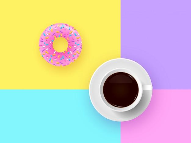 Beignet et tasse de café pop