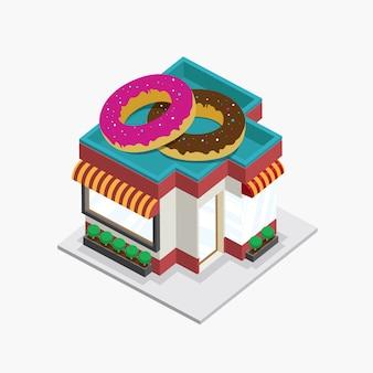 Beignets bâtiment isométrique