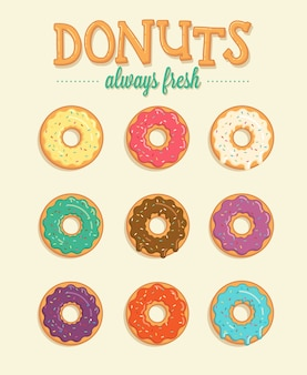 Beignets colorés illustration