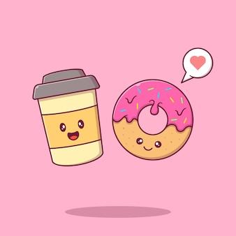 Beignets mignons et café souriant avec des personnages de dessins animés plats d'amour.