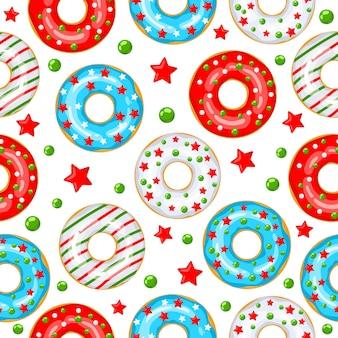 Beignets de noël - modèle sans couture de vecteur pour le tissu, papier d'emballage, papier peint, arrière-plan pour le site. motif festif de beignets blancs, rouges et bleus avec des étoiles et des boules sur fond blanc.