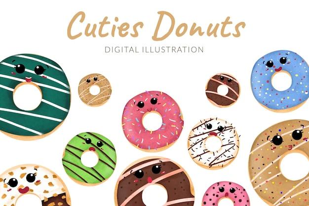 Beignets sucrés de dessin animé mignon avec diverses saveurs illustration couleur pastel
